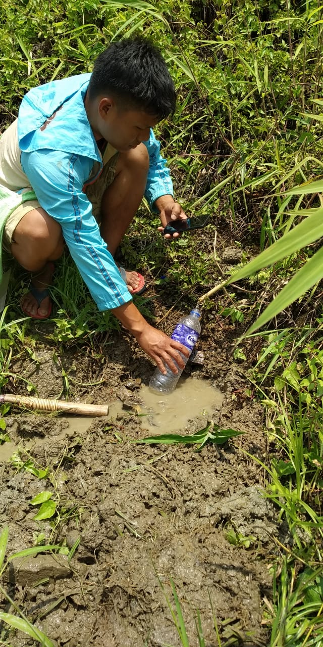 Discharge rate of Baanthampang spring measured with inhouse technology